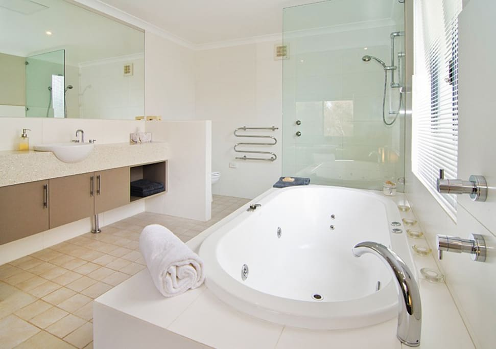 Spa and open bathroom