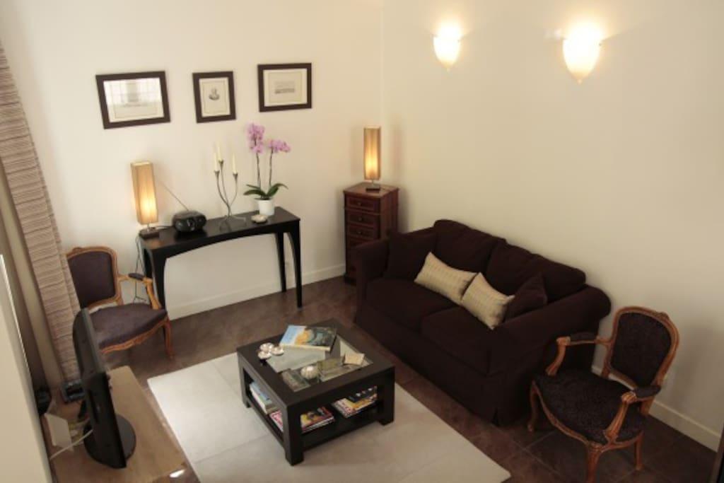 Le séjour moderne, confortable pour se relaxer après une belle journée.
