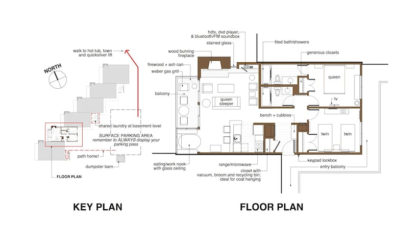 KEY PLAN showing our building and CONDO floor plan.
