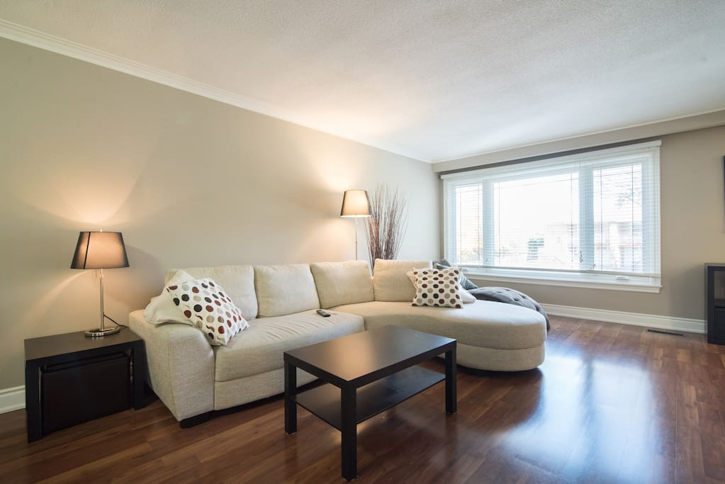 Bright living room with large window and modern sectional
