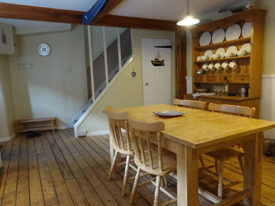 Kitchen is bright and airy.