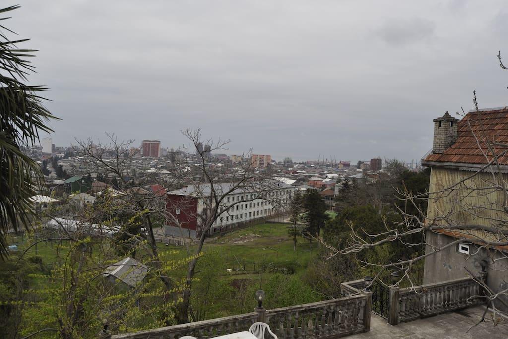 двор, панорама  города