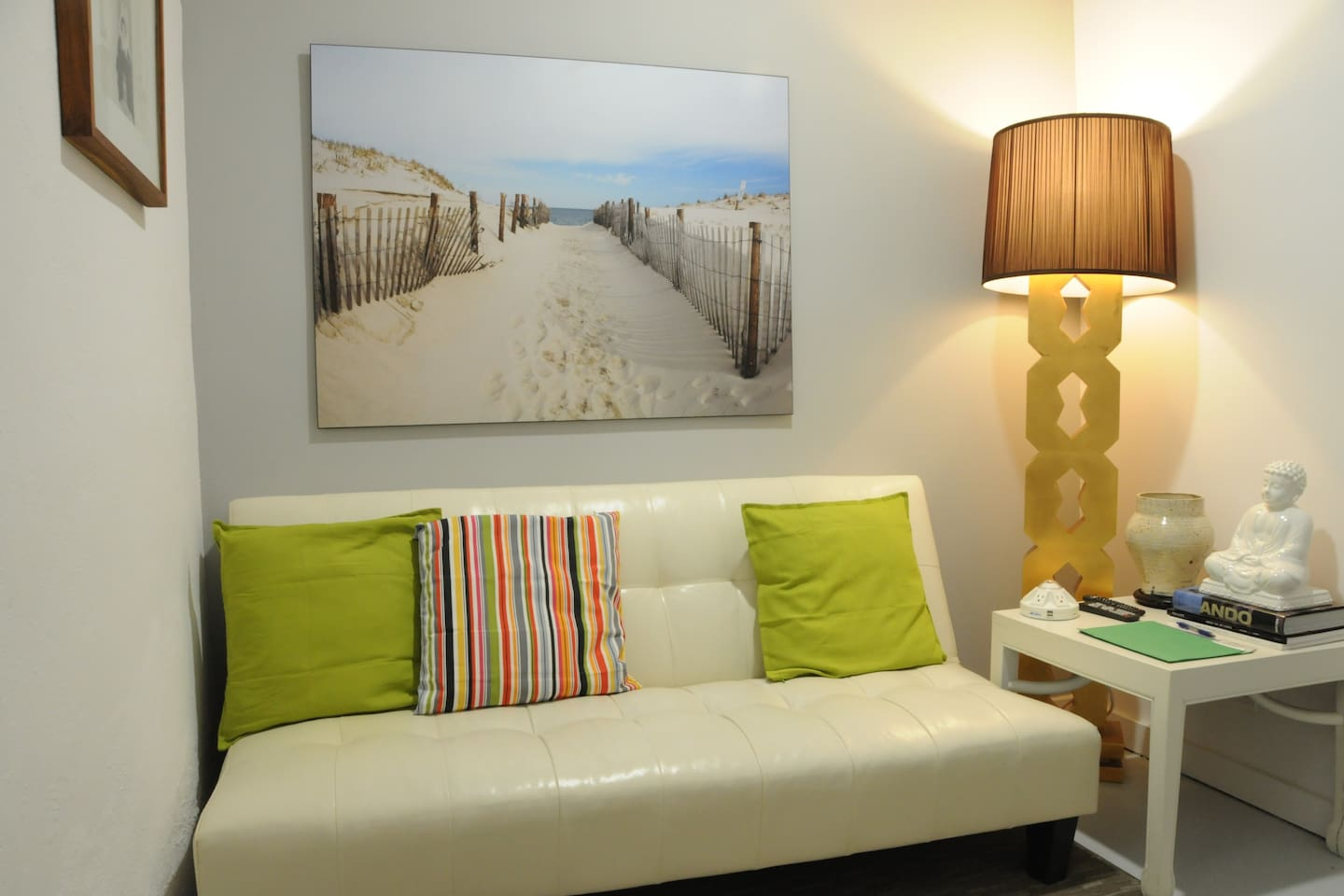 Small living area with cable TV