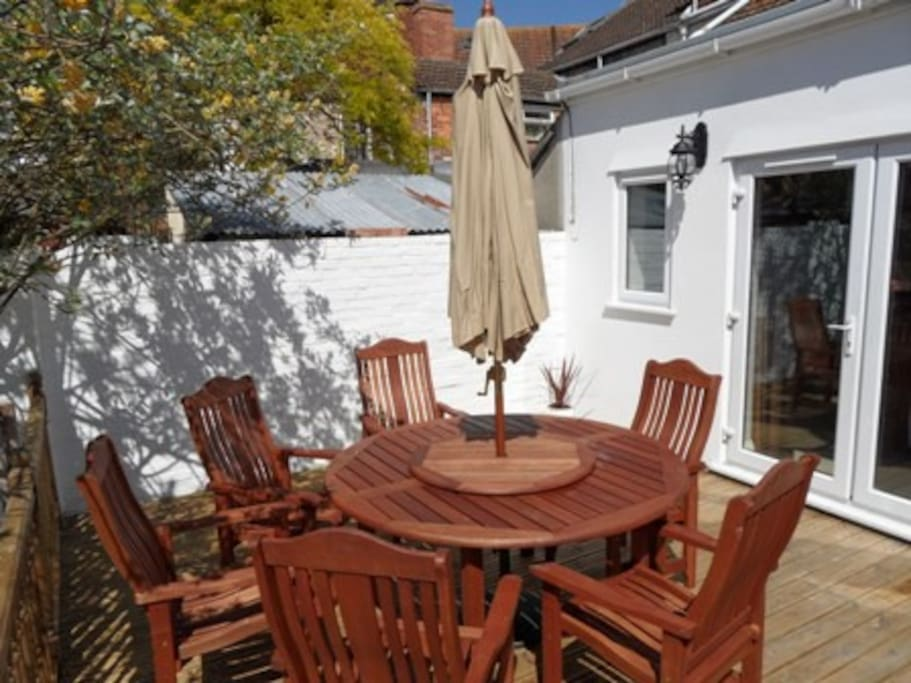Outside decking and garden furniture