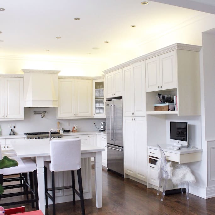 The gourmet kitchen is large and fully equipped for entertaining.