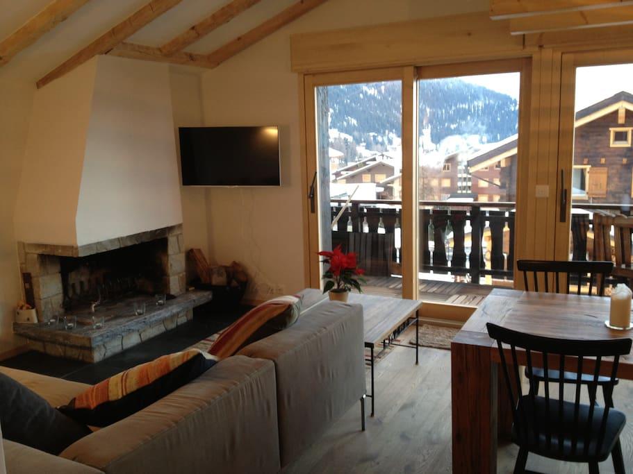 Fire place, beautiful view, open plan kitchen, wifi