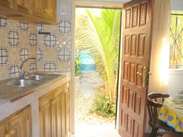 on profite de la beauté et de la fraîcheur du jardin mosaïque, même quand on se trouve à l'intérieur du studio (dans le fond du jardin on aperçoit un réservoir d'eau, merveilleusement décoré par un artiste-peintre).