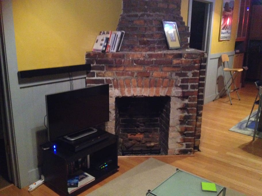 Wireless broadband Internet access, a Smart TV with cable, Netflix and HuluPlus, as well as a bluetooth soundbar that can connect to your iTunes. Also,four (yes FOUR) decorative fireplaces that date back to 1906.