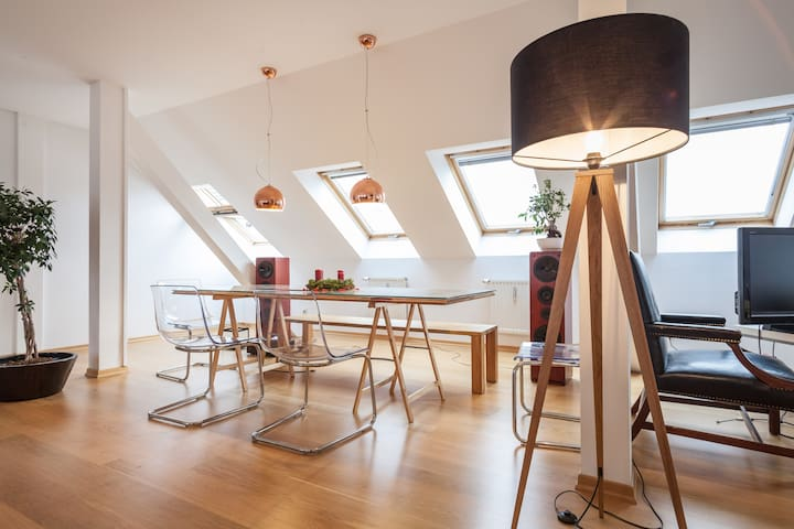 Bright and airy eating and working area
