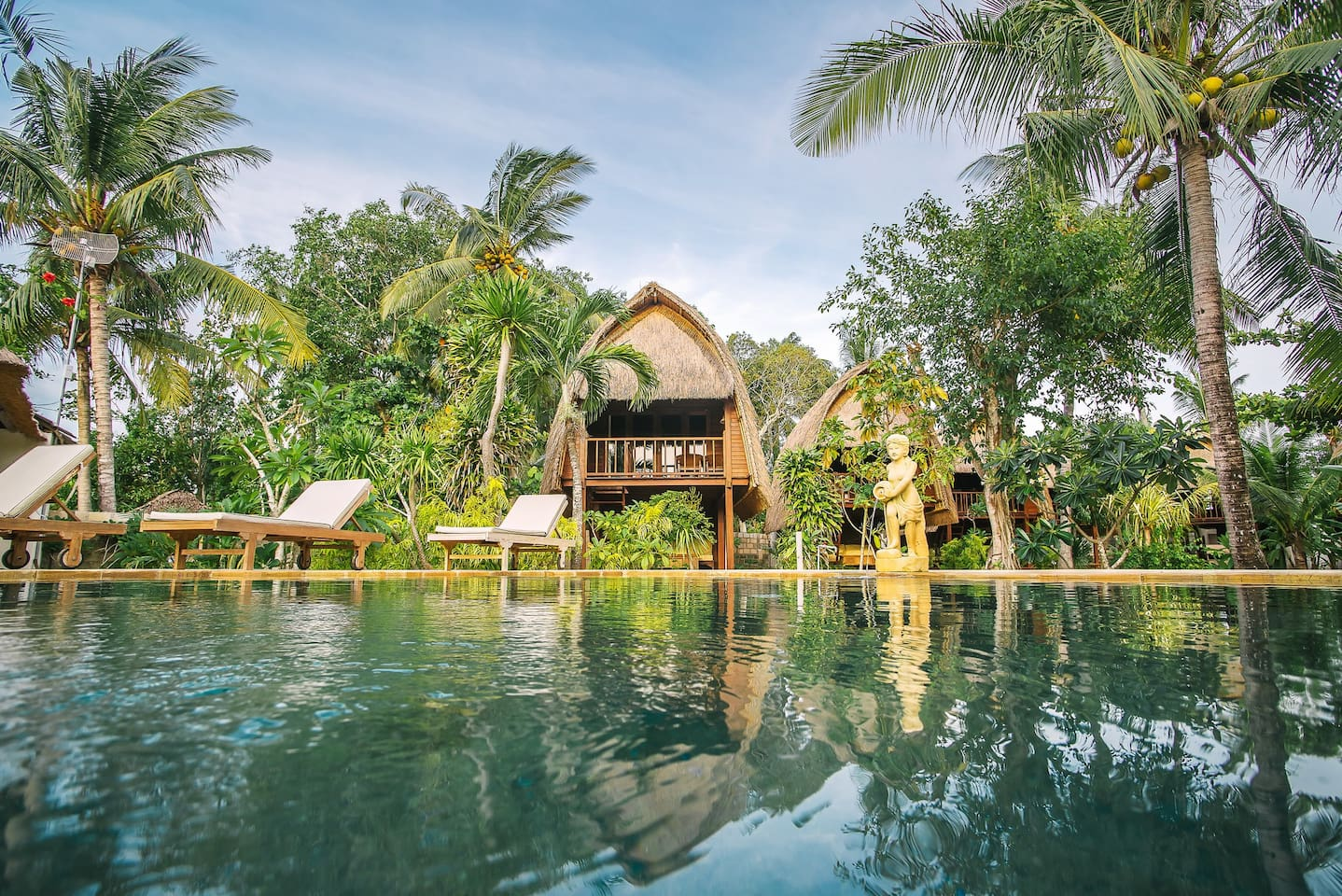 Hut is overlooking to great swimming pool view