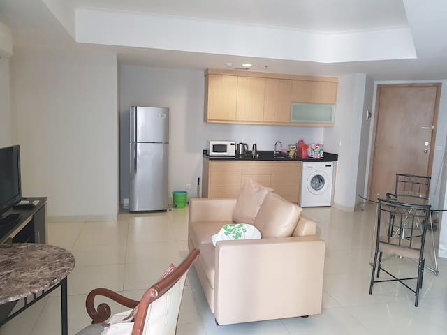 Living room, kitchen and washing machine