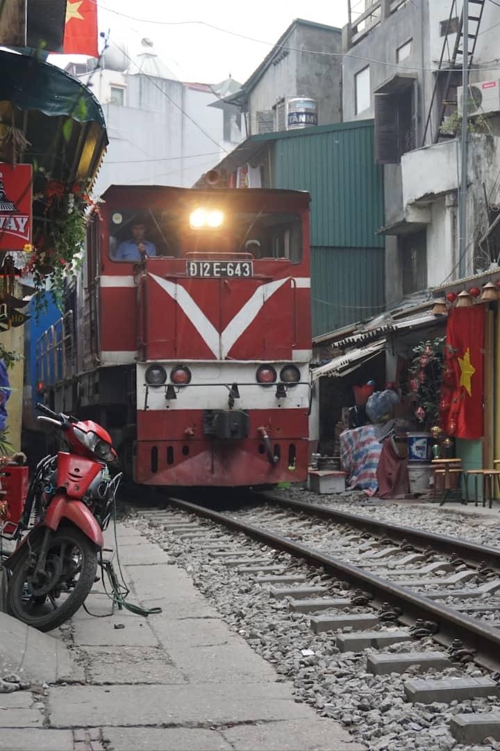 Train street for coffee