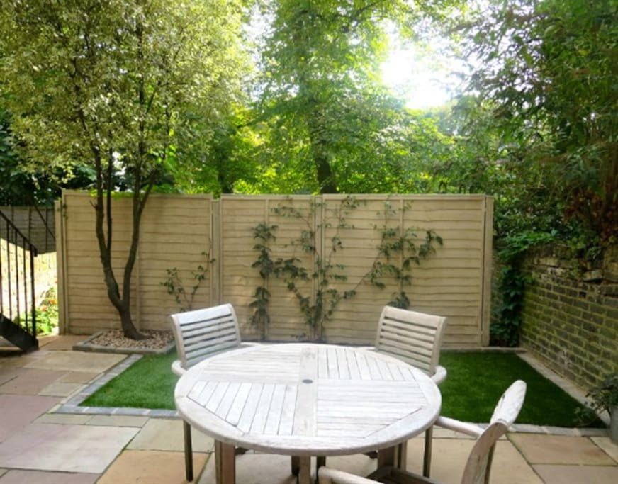 The private south facing garden is accessible from the living room and kitchen, perfect for summer evenings