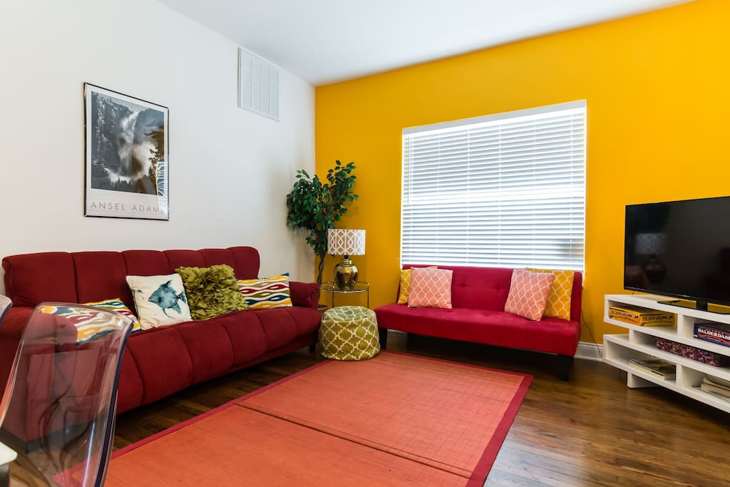 Relax in the living room - enjoy the TV, board games, or catch a well deserved nap on the comfortable microfiber couch!