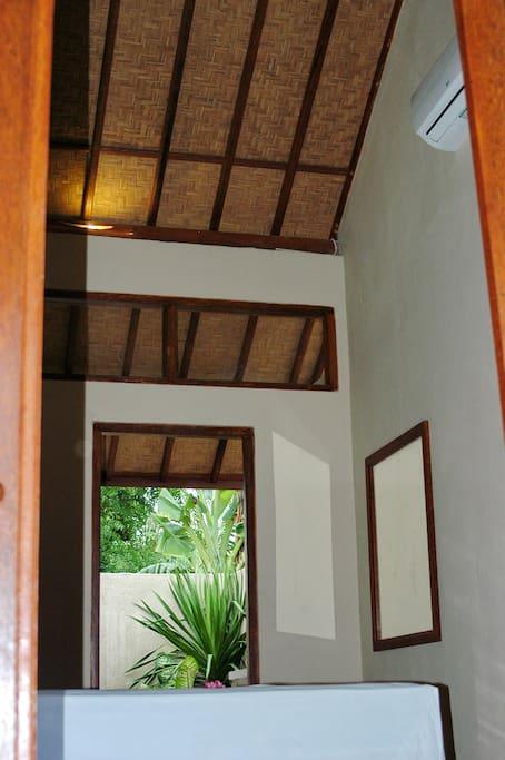high ceiling bedroom
