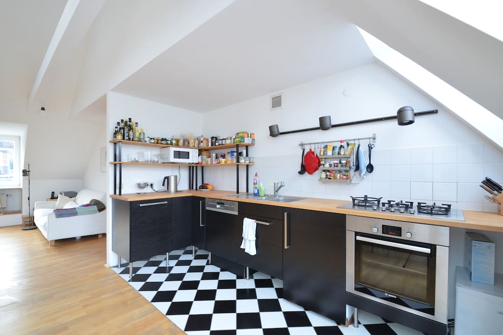 Professionally equipped open kitchen