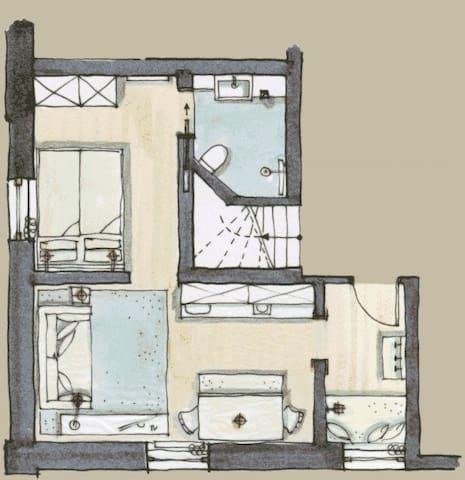 Planskizze: Auf 30 qm ist alles untergebracht und genügend Stauraum.