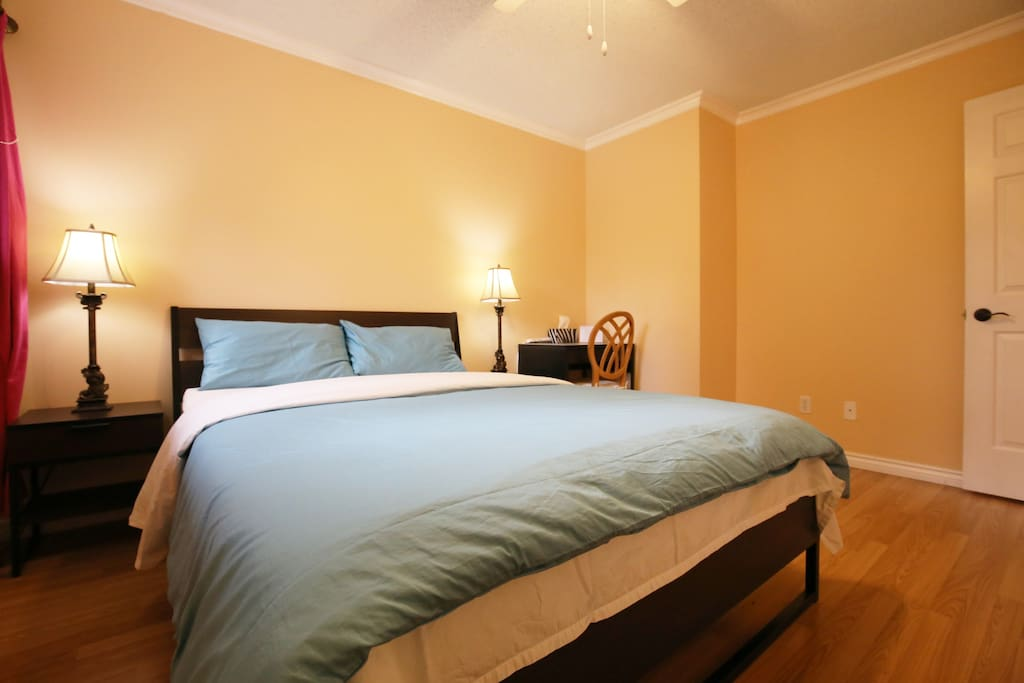 Bedroom #3A, has a closet and a desk, nice queen-size bed, very spacious and private space