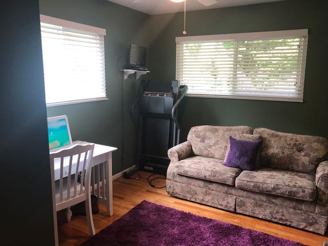 Study with computer, desk and treadmill with TV as well as a comfy,  queen pull-out couch.