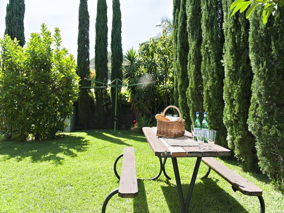 Established private garden.
