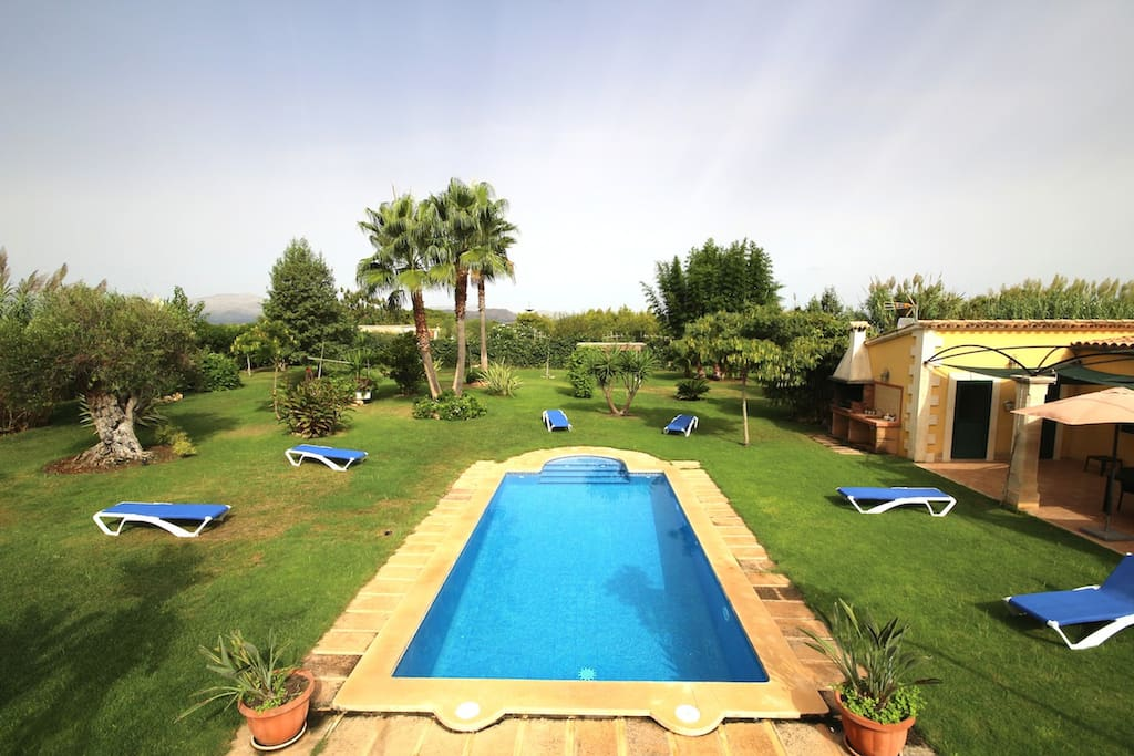 Large garden with Swimming pool .