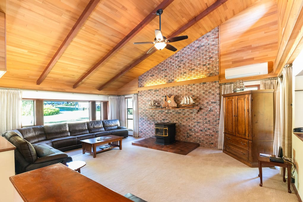 The skylights in the vaulted ceiling let plenty of natural light in the common areas.