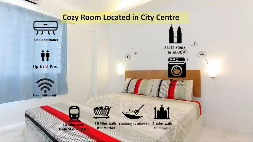 Cozy Room Comfy Bed | KLCC | WIFI | LRT | Free Bus