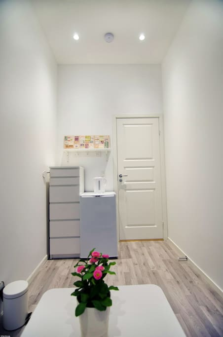 In your room you have a dresser and your private fridge and water boiler. The room is newly renovated.