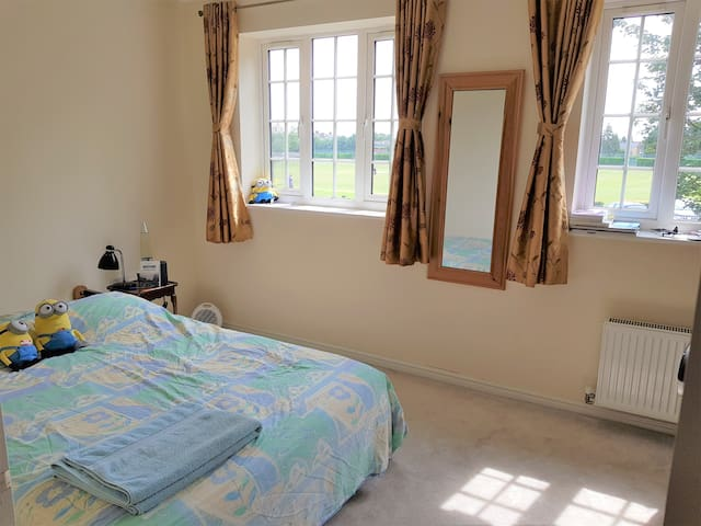 Beautiful room with double bed in a modern house