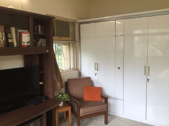 TV and ample wardrobe space