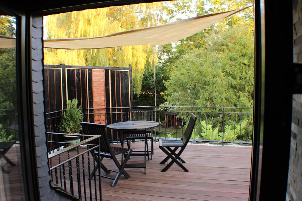 A generous terrace with a beautiful view of nature