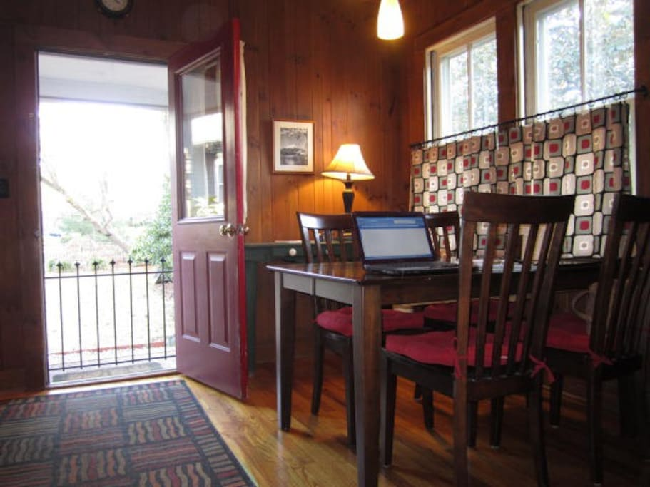 Dining room, entry to grounds, patio.