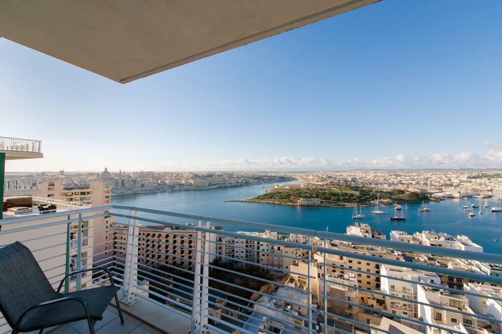 Spectacular Valletta, Manoel Island and Sliema views from second terrace