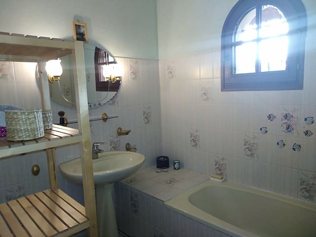 sdb fonctionnelle avec lavabo + baignoire munie d'un pommeau de douche