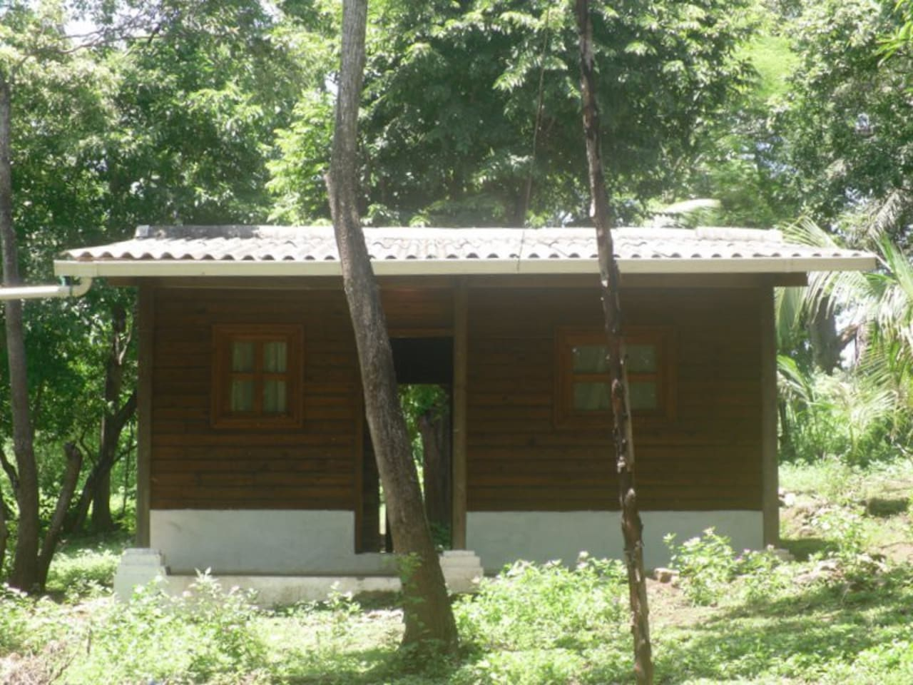 The cabin has three beds, a kitchenette and a separate shower and toilet area.