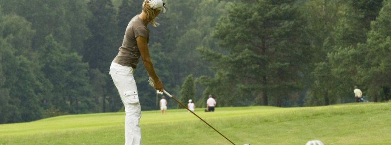 The nearby golf course is a pay & play course (18 holes)
