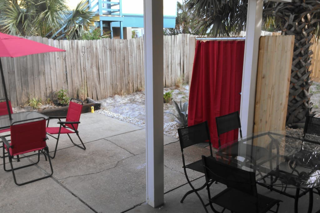 Entertainment area and outdoor shower