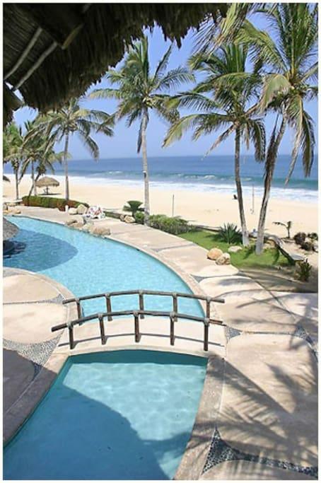 from resort to beach