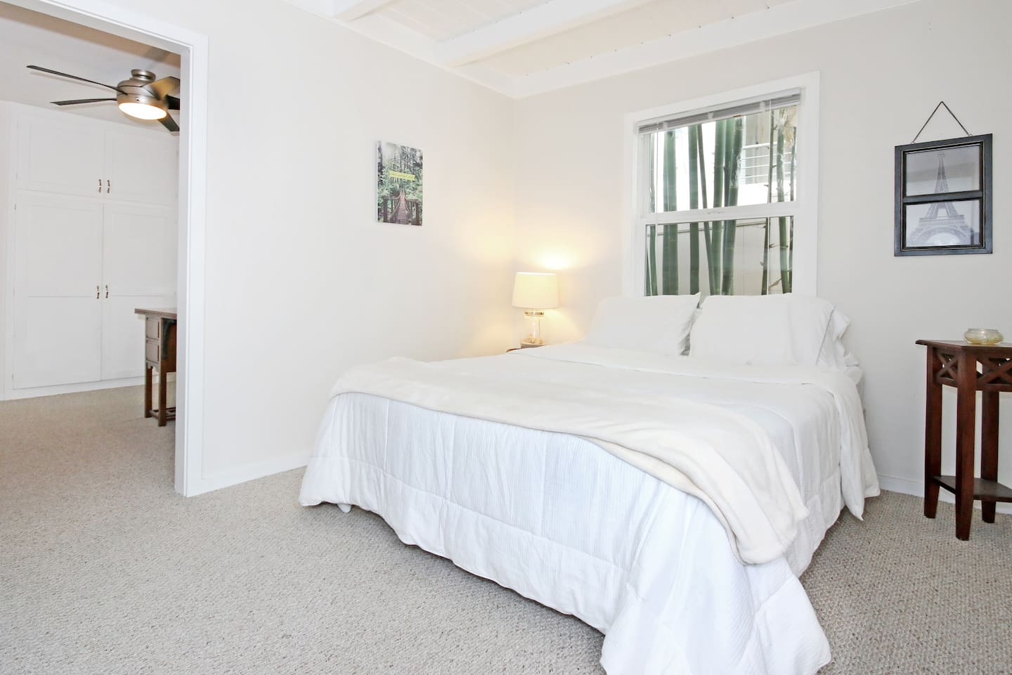 Full-sized bed, fresh linens, spacious bedroom