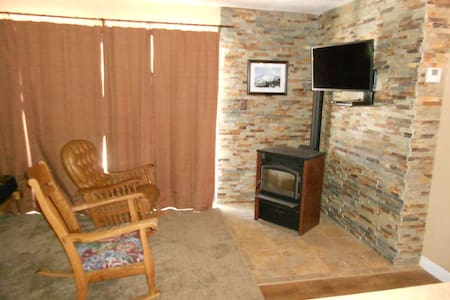 Our Kirkwood Ski condo is located directly across the street from the village and chairs 1, 5, 6, 10, and 11.  Sleeps 4. Queen size bed, full size futon in living rm with twin bunk overhead.  Walk to 7800 Bar and Grill!  Full size kitchen.