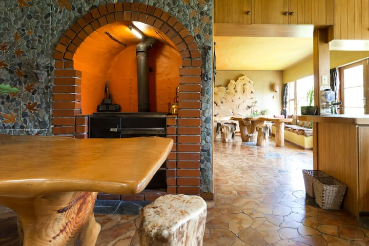 Fireplace in the shared kitchen.