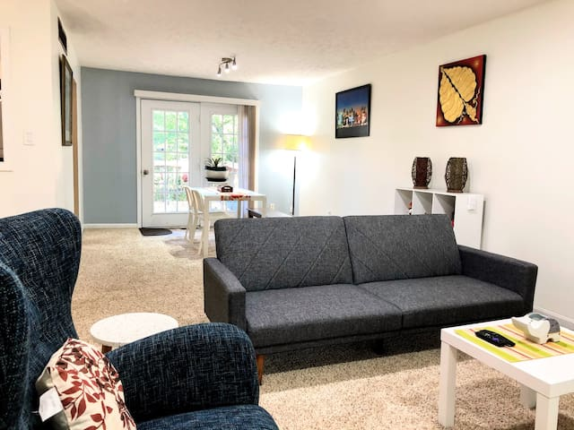 Living room is bright with plenty of natural day light and is equipped with a 49-inch high-fed flatscreen tv. The sofa bed fully expands flat and can be used as additional bed.   For a part of 6, an additional twin bed is available upon request