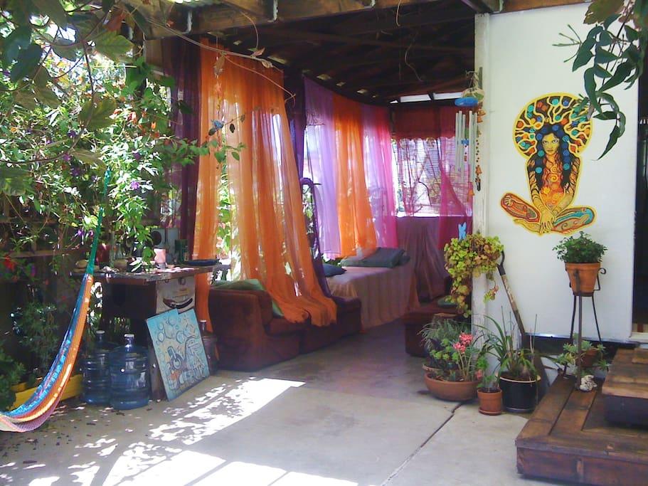 Patio / Massage table / Goddess mural