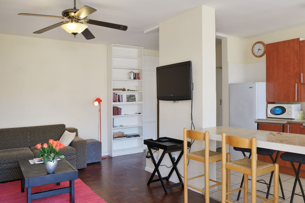 Relaxing open plan living space and balcony. Cable TV. Ceiling fan
