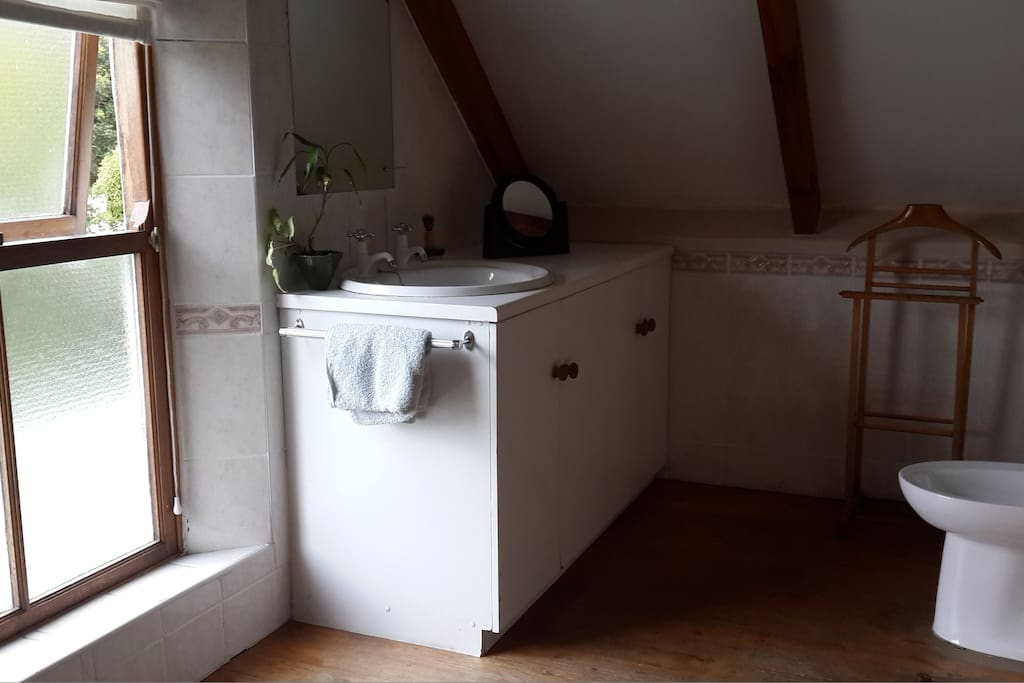 other half of upstairs en suite bathroom with basin and bidet