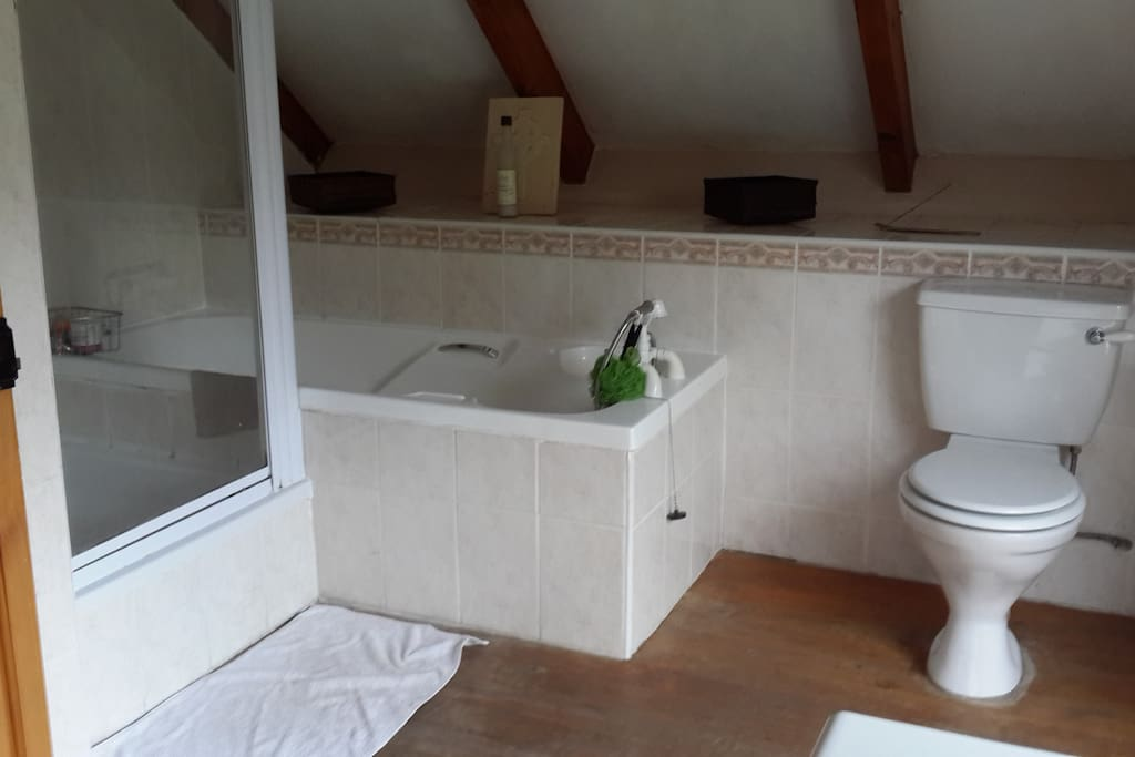 A truly great shower and bath in large upstairs en suite bathroom