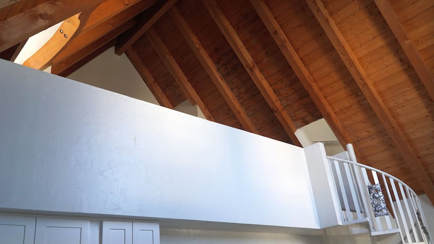 Loft Area with vaulted shiplap ceiling (with bunk beds)