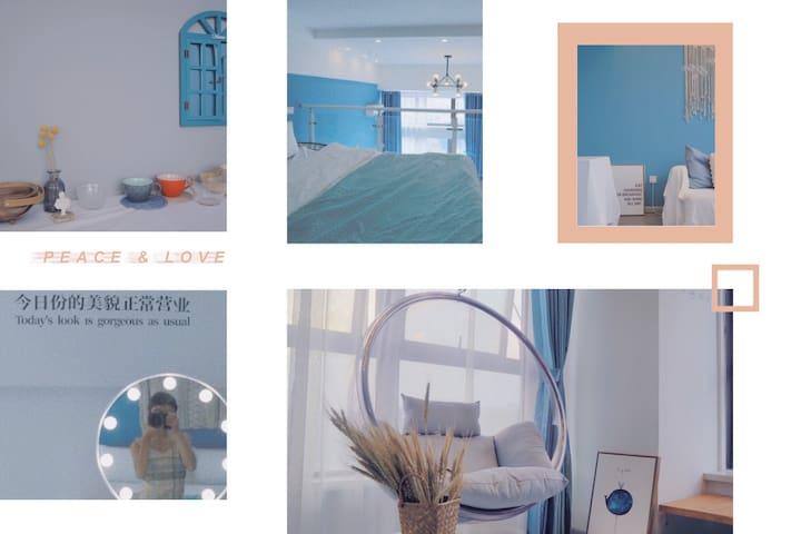 大蕾哥出品•蓝色大海的传说•loft复式•ins泡泡透明秋千•观湖风景屋•邻万达宝龙广场