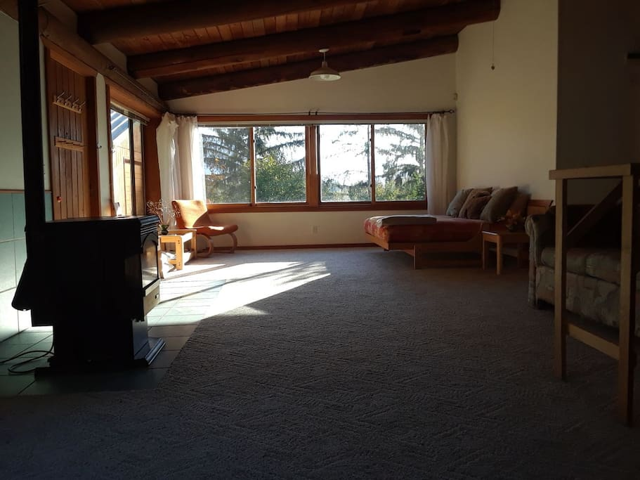 This is a livingroom. It has big windows with beautiful views, comfortable sitting and a pellet stove that makes life warm and cozy in cold times.