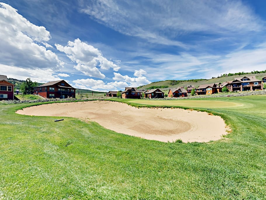 Your rental is situated on the 15th green of the Granby Ranch golf course.